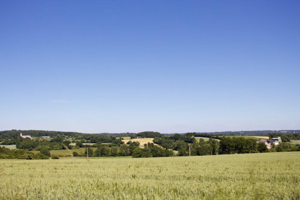 Weiden und Hügelland in fantastischen Grüntönen Normandie Frankreich